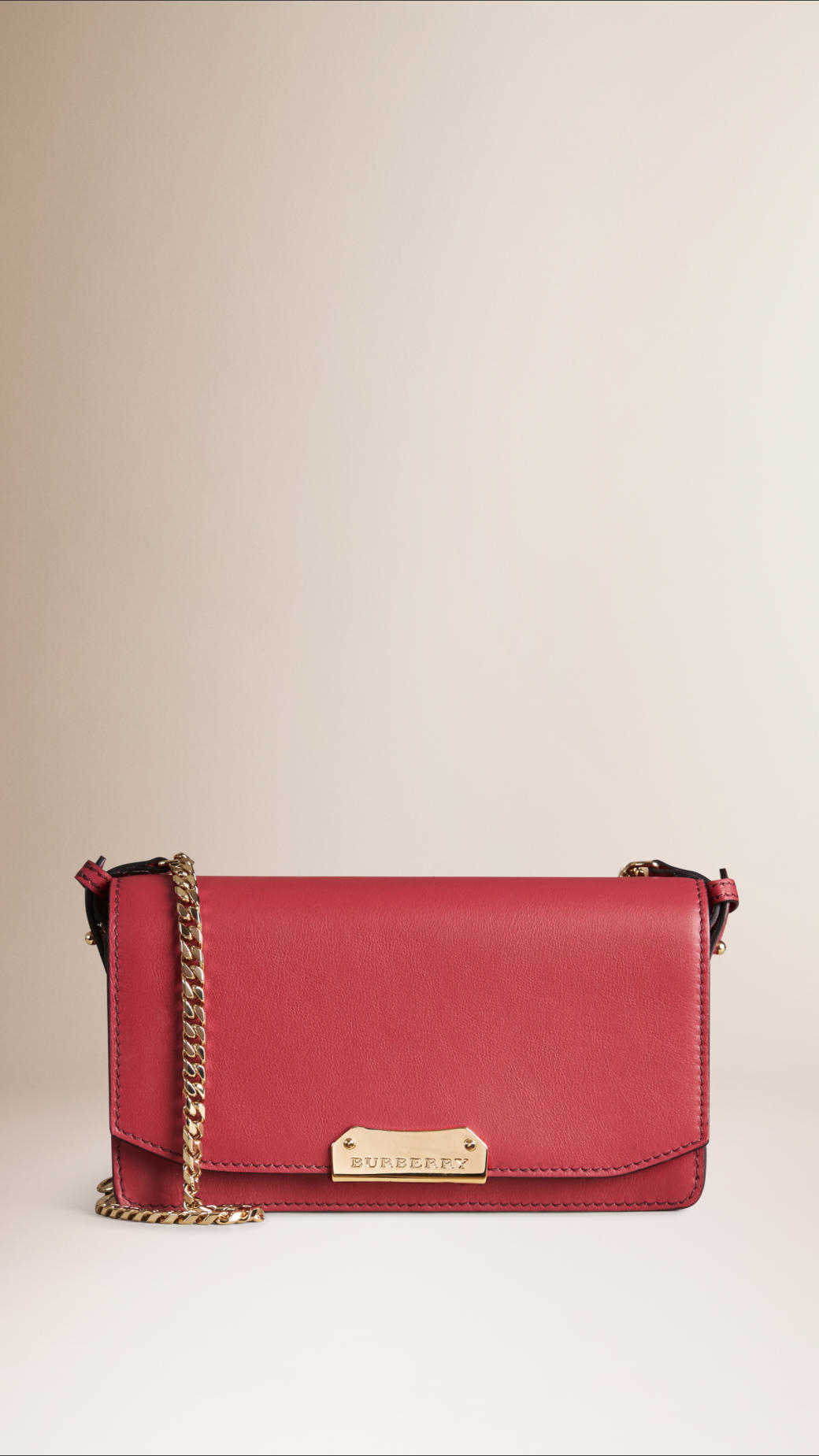 c1aae4c4369b Lyst - Burberry Leather Clutch Bag With Chain in Pink