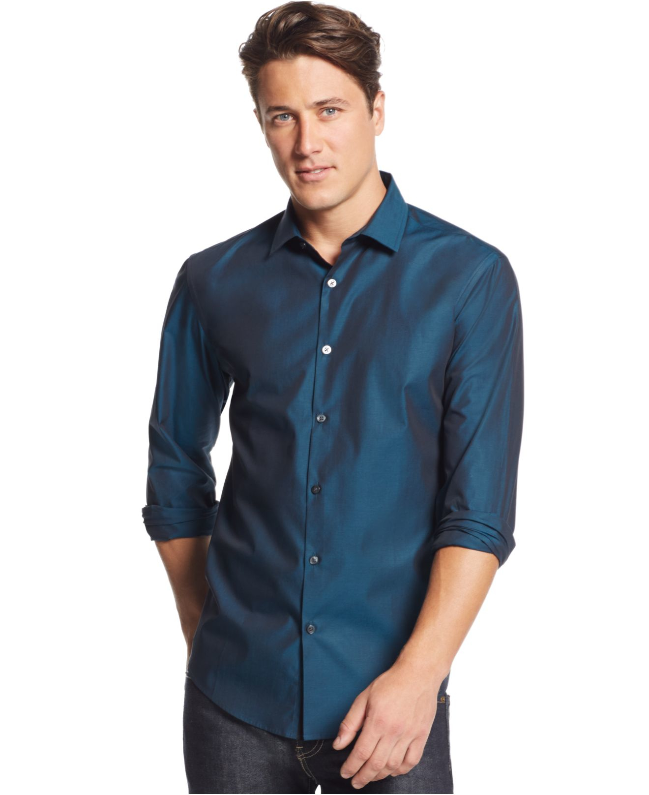 Alfani big and tall verve iridescent shirt in blue for men for Dress shirts for tall men