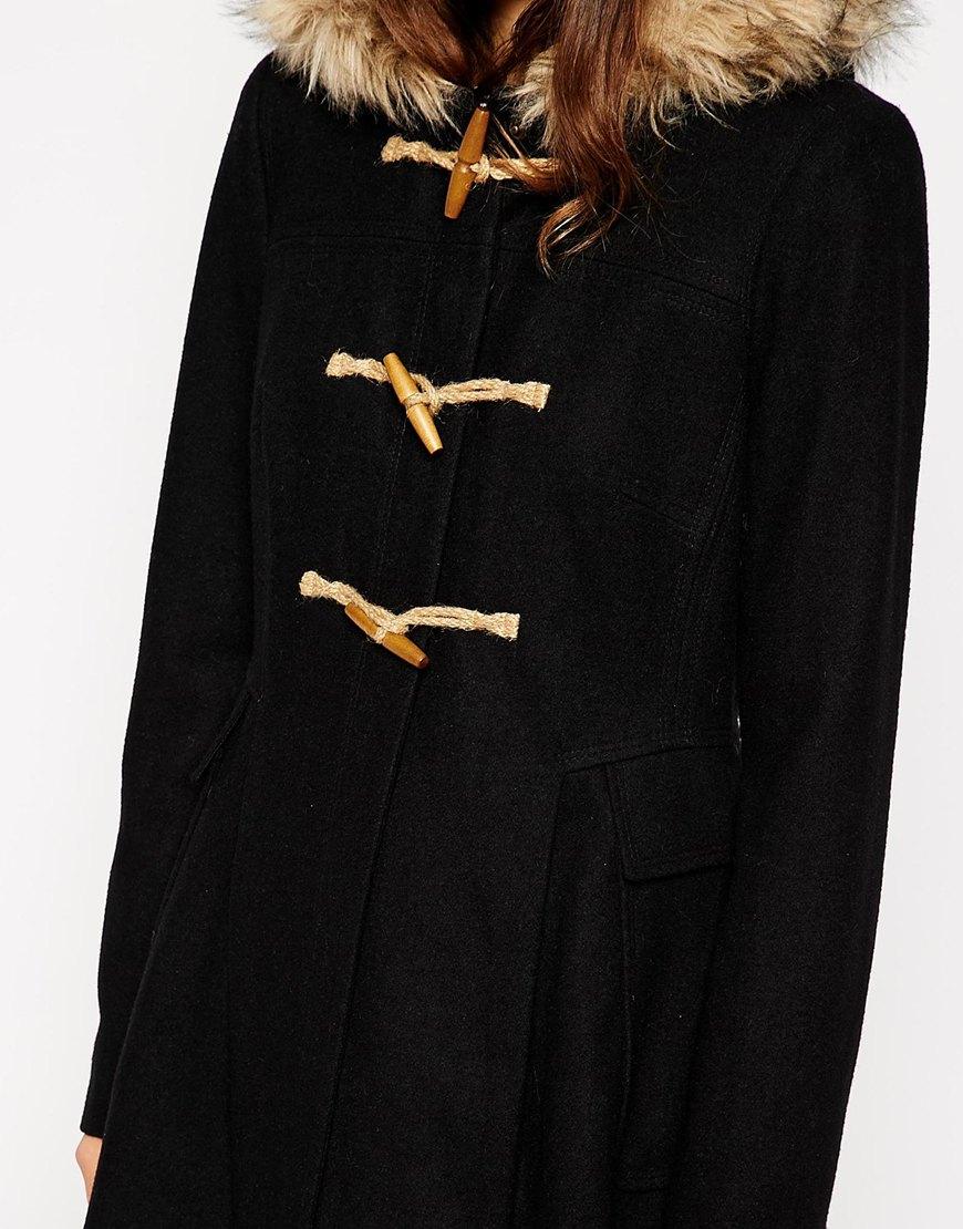 Asos Faux Fur Hooded Duffle Coat in Black | Lyst