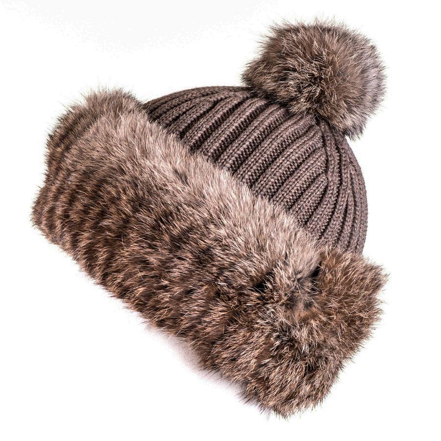718d9bfbe649f6 Black.co.uk Taupe Rabbit Fur Bobble Hat Description Delivery ...