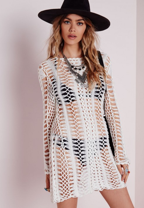 Missguided Long Sleeve Crochet Bodycon Knitted Dress Cream In
