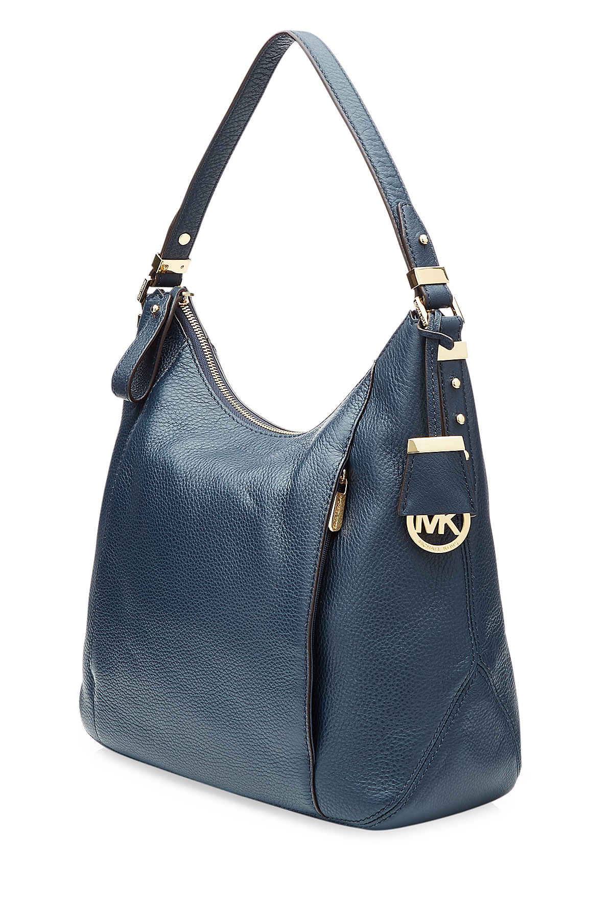michael michael kors leather bowery large hobo bag blue in blue lyst. Black Bedroom Furniture Sets. Home Design Ideas
