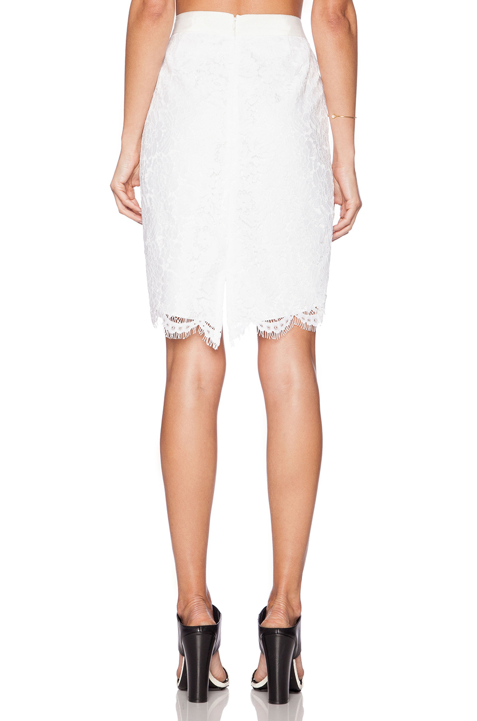 zoe jules high low lace skirt in white lyst