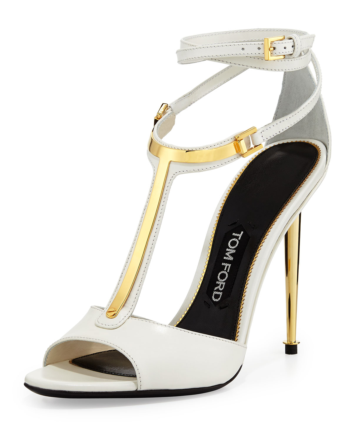 3f32f1ced2b Lyst - Tom Ford Chain Heel Leather Sandal in White