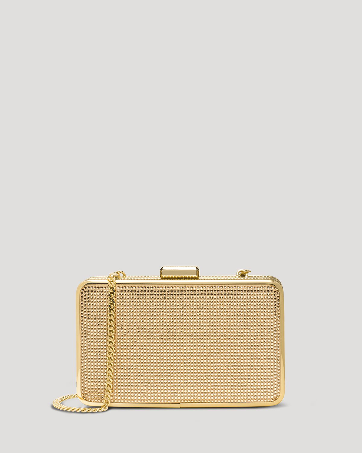 michael michael kors clutch elsie crystal box in gold blush topaz lyst. Black Bedroom Furniture Sets. Home Design Ideas