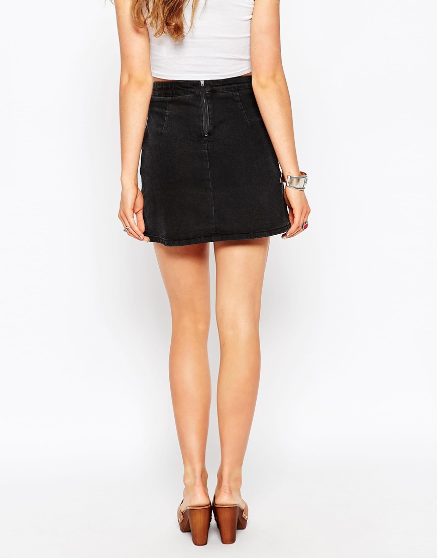 Asos Denim A-line Skirt In Washed Black With Pockets in Black | Lyst