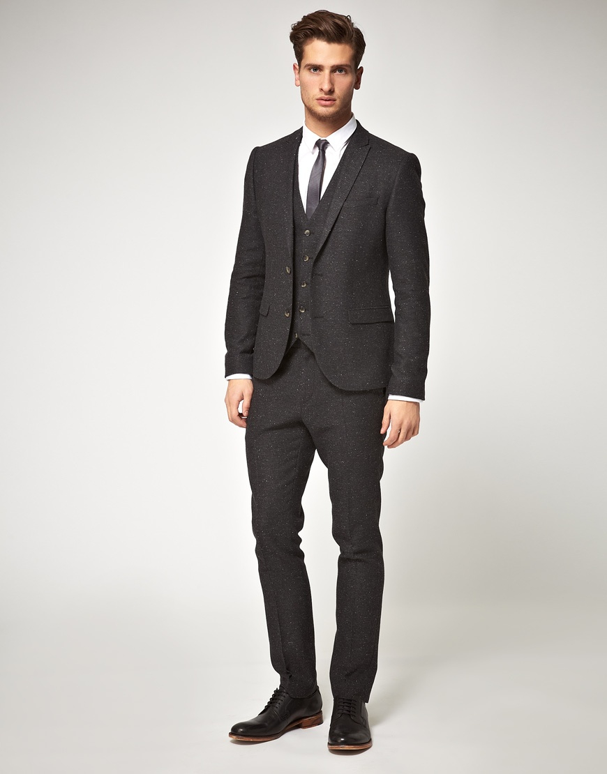 Asos Slim Fit Herringbone Suit Jacket In Charcoal in Gray ...
