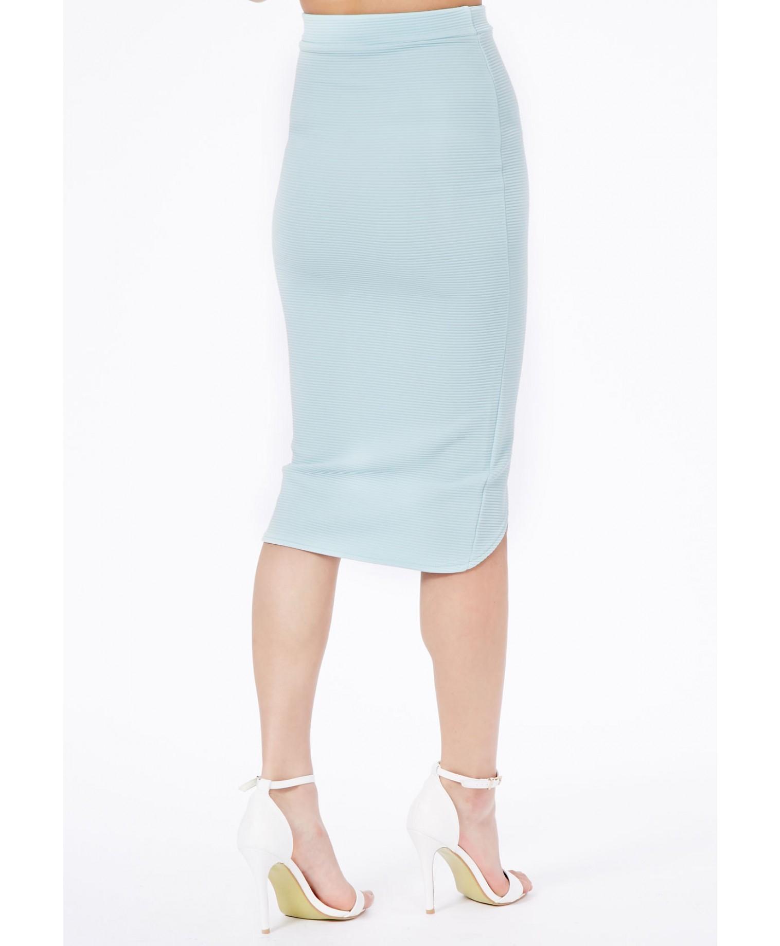 missguided elanor ribbed curve hem midi skirt in baby blue