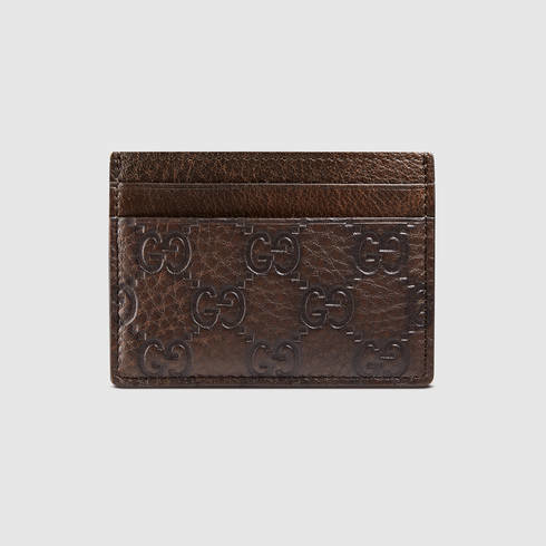 279709d1e4bae9 Gucci Guccissima Card Case in Brown for Men - Lyst