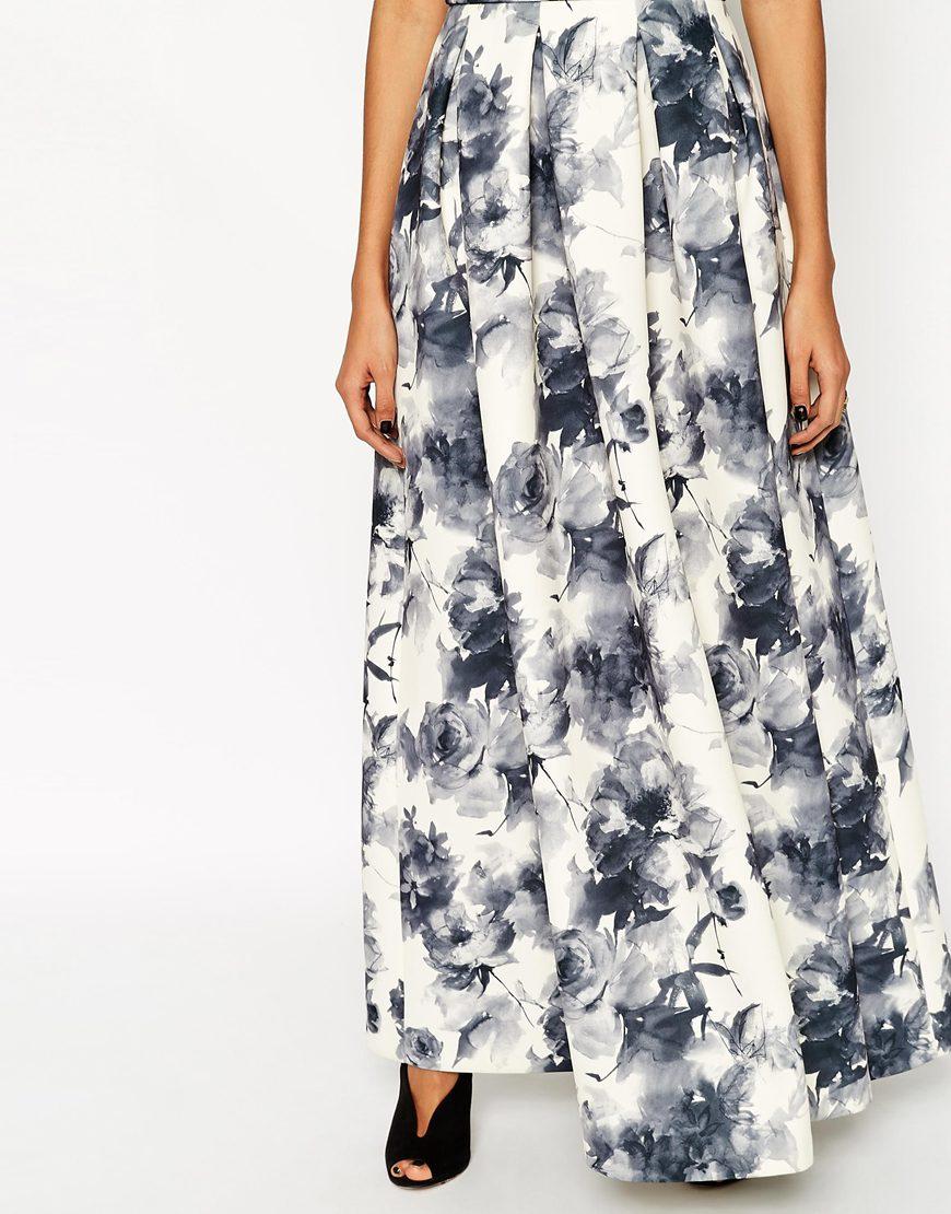 985efa3d75 Lyst - ASOS Premium Bardot Maxi Dress In Mono Floral Print in Gray