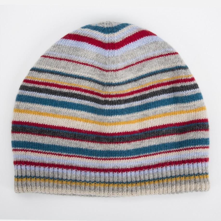 4bff8a058bfae Paul Smith Men s Grey Signature Stripe Wool-blend Beanie Hat in Gray ...