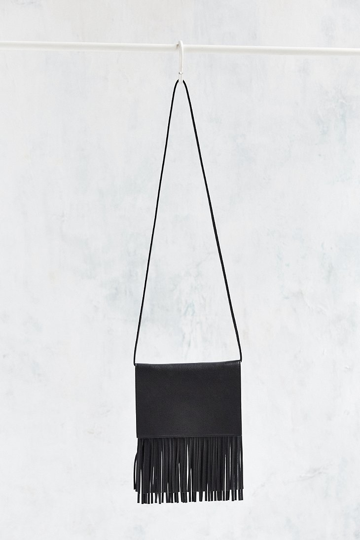 a89d374b68 Lyst - Urban Outfitters Ecote Flat Fringe Crossbody Bag in Black