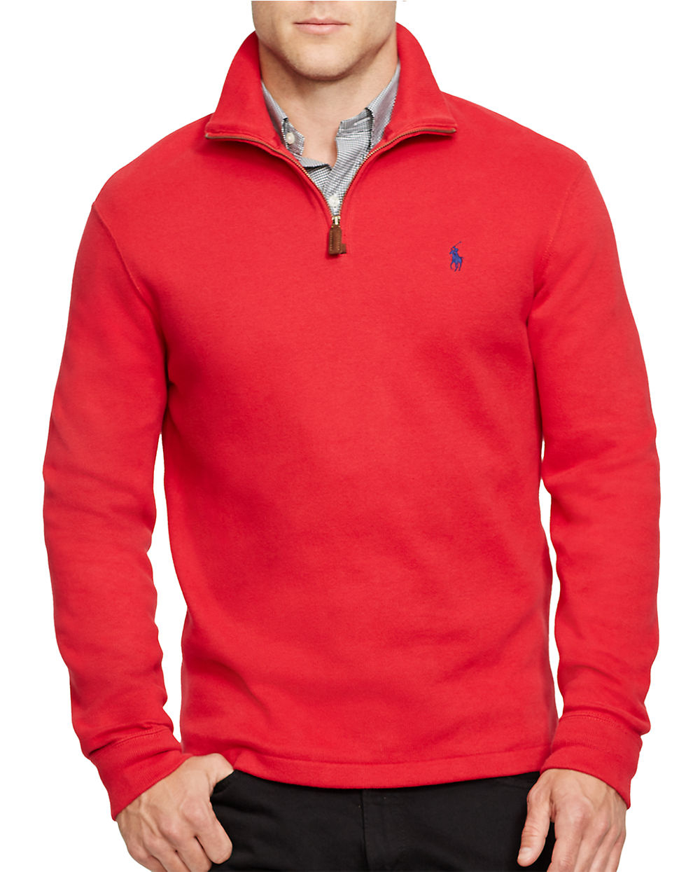 polo ralph lauren french rib half zip pullover in red for men lyst. Black Bedroom Furniture Sets. Home Design Ideas