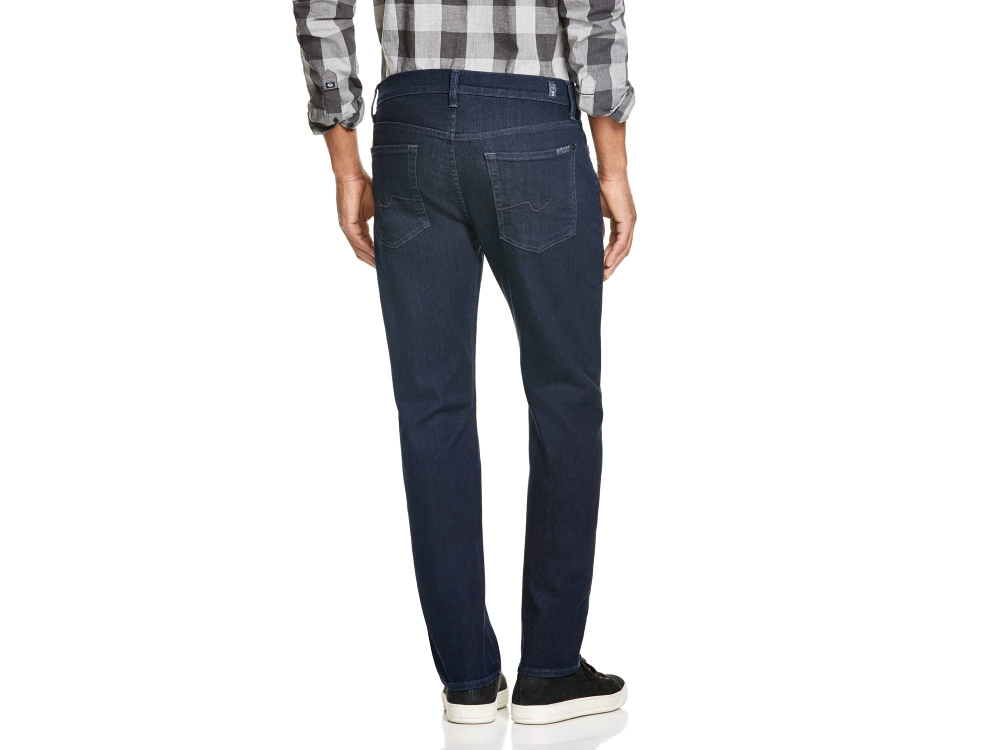 7 For All Mankind Denim Standard Classic Fit Straight Leg Jeans In Duncan Dark Blue - Compare At $198 for Men