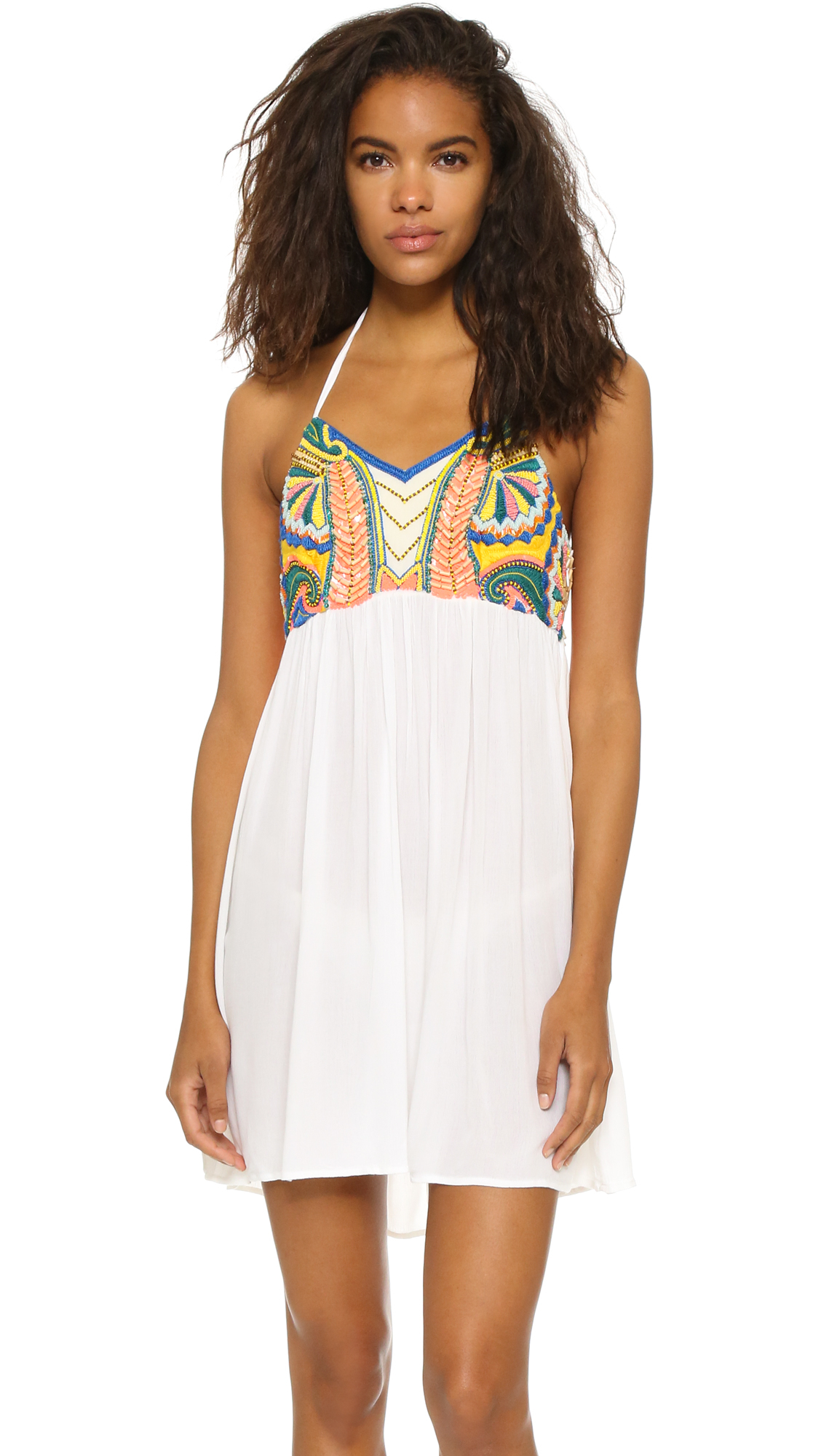 Pia pauro embroidered halter beach dress in white lyst
