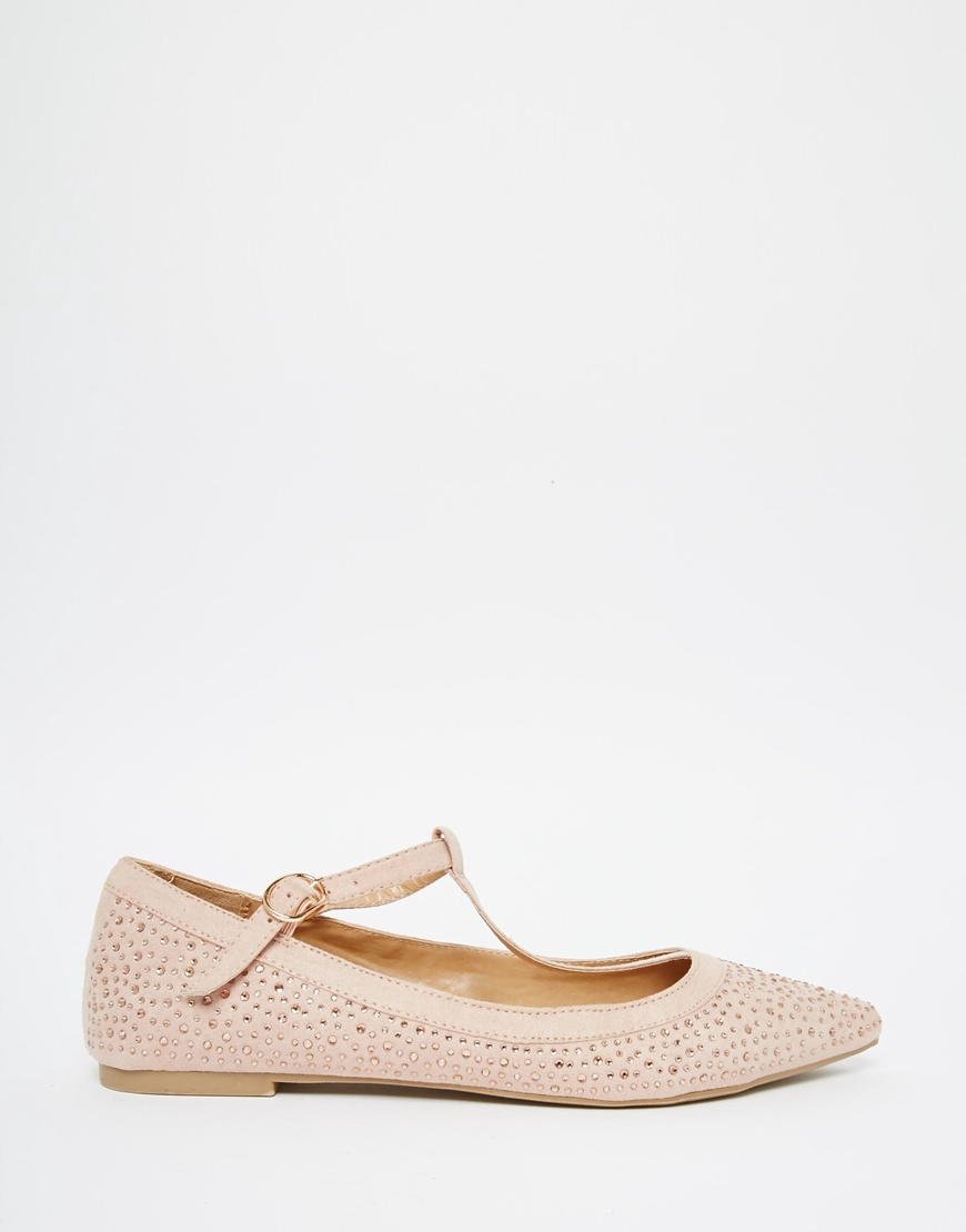 6be391006aeb Oasis T Bar Point Sparkle Flat Shoe - Nude in Pink - Lyst