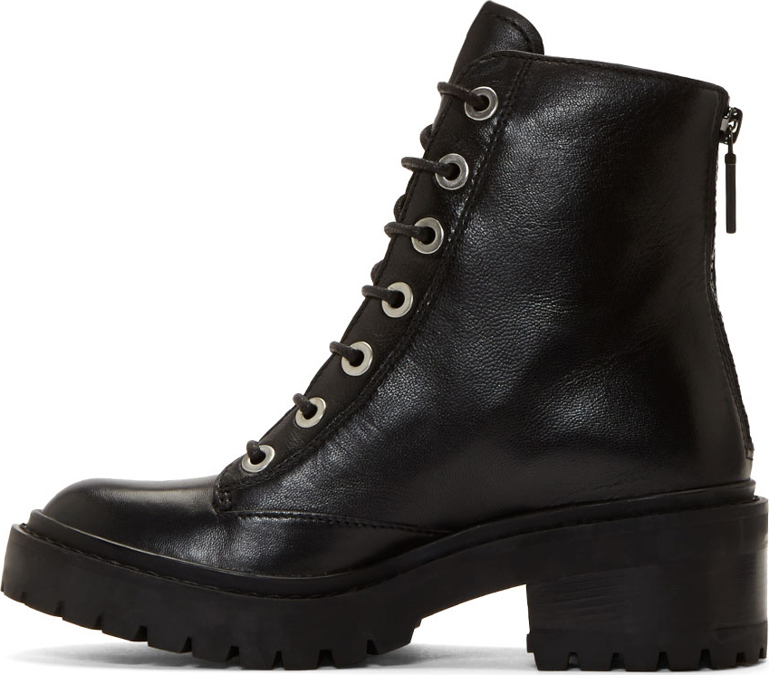 Kenzo Black Leather Boots hmUN3NdR8