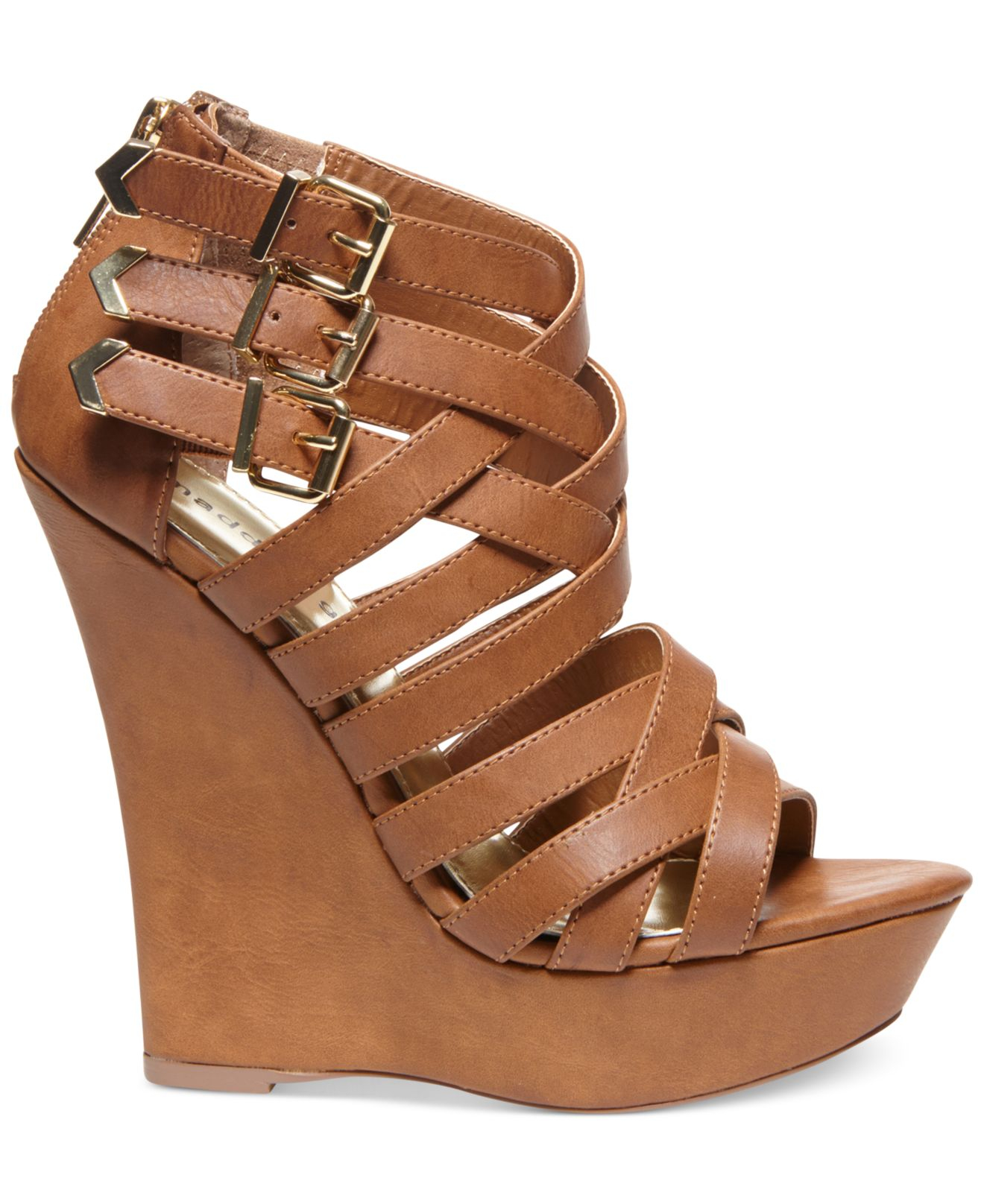 Lyst Madden Girl Faboo Strappy Platform Wedge Sandals In