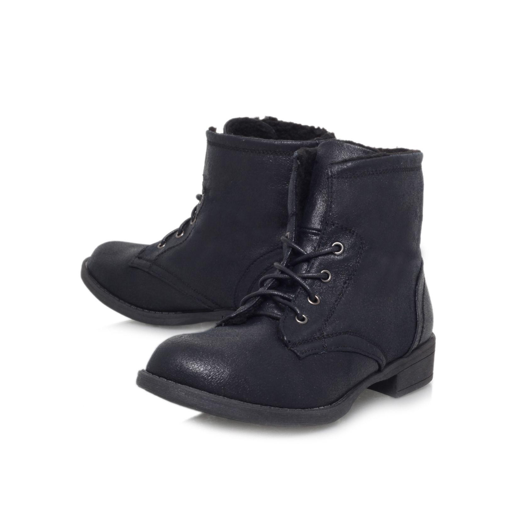 Carvela Kurt Geiger Taffy Flat Lace Up Ankle Boots in Black