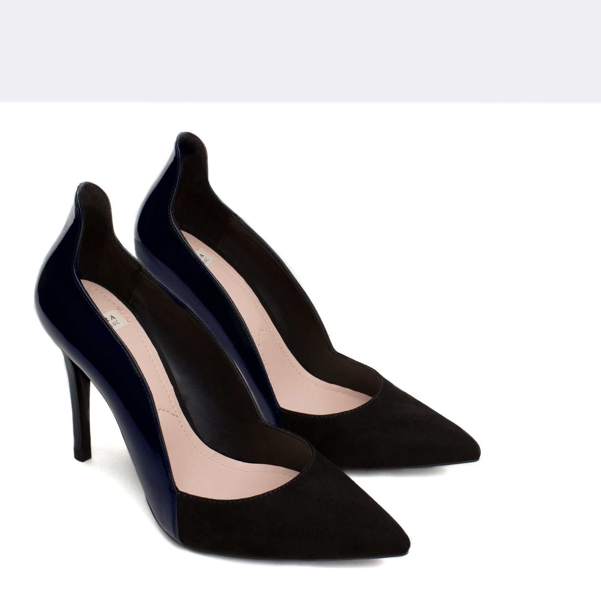 Zara Combined High Heel Strappy Shoes in Black | Lyst
