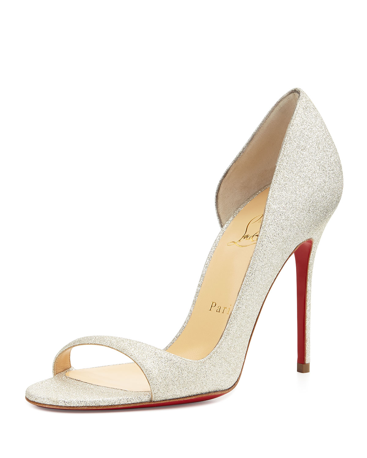 Christian Louboutin Toboggan Glitter Leather Red Sole Pump