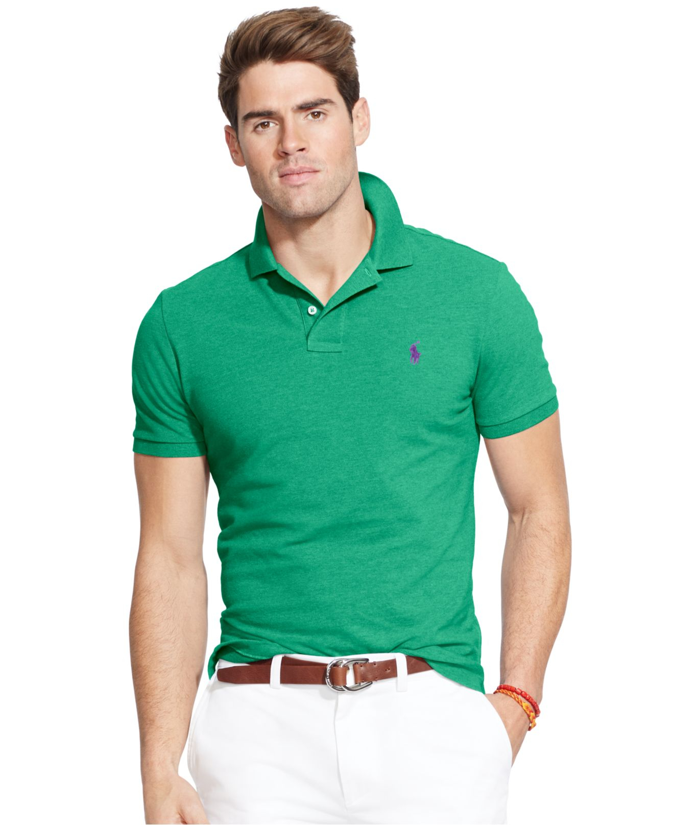 Polo ralph lauren custom fit mesh polo shirt in green for Man in polo shirt