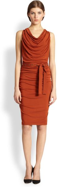 Donna Karan New York Belted Draped Dress In Brown