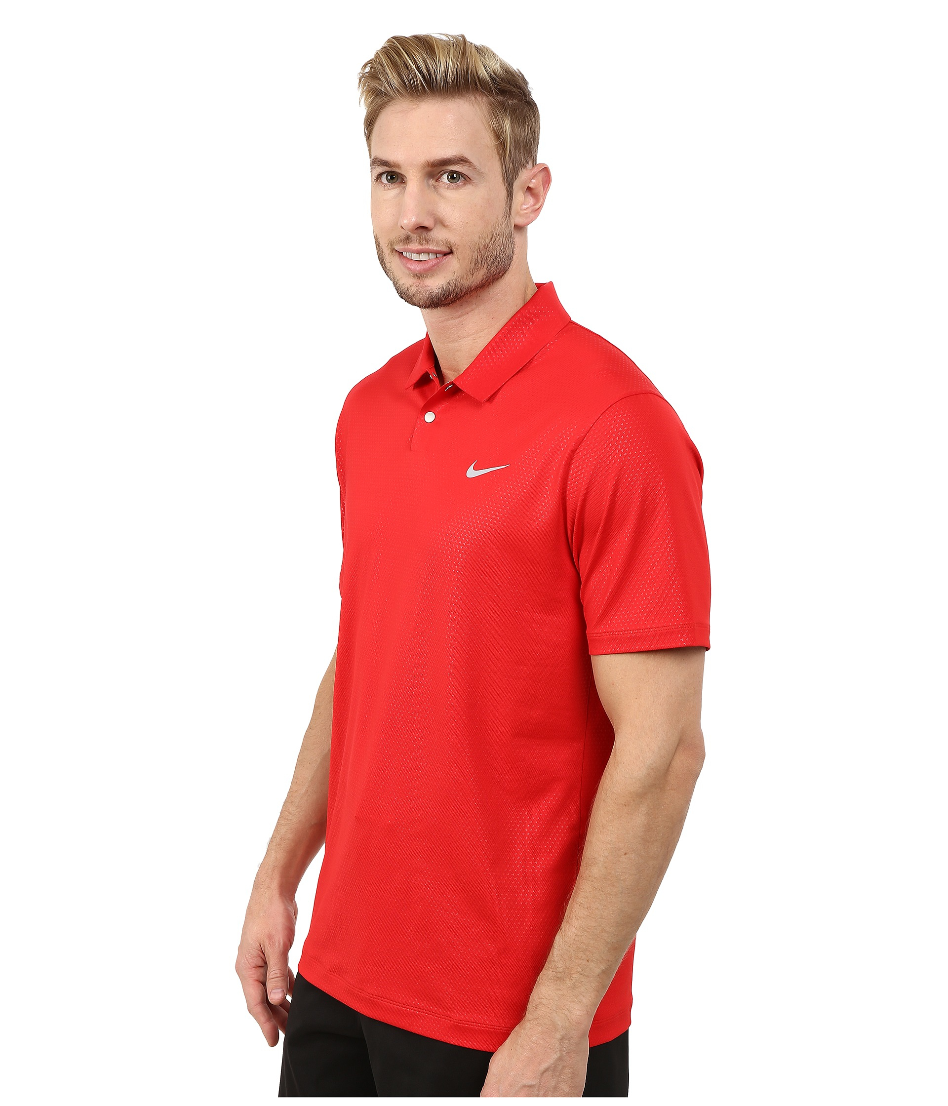 Nike Tiger Woods Mobility Camo Embossed Polo Shirt In Red