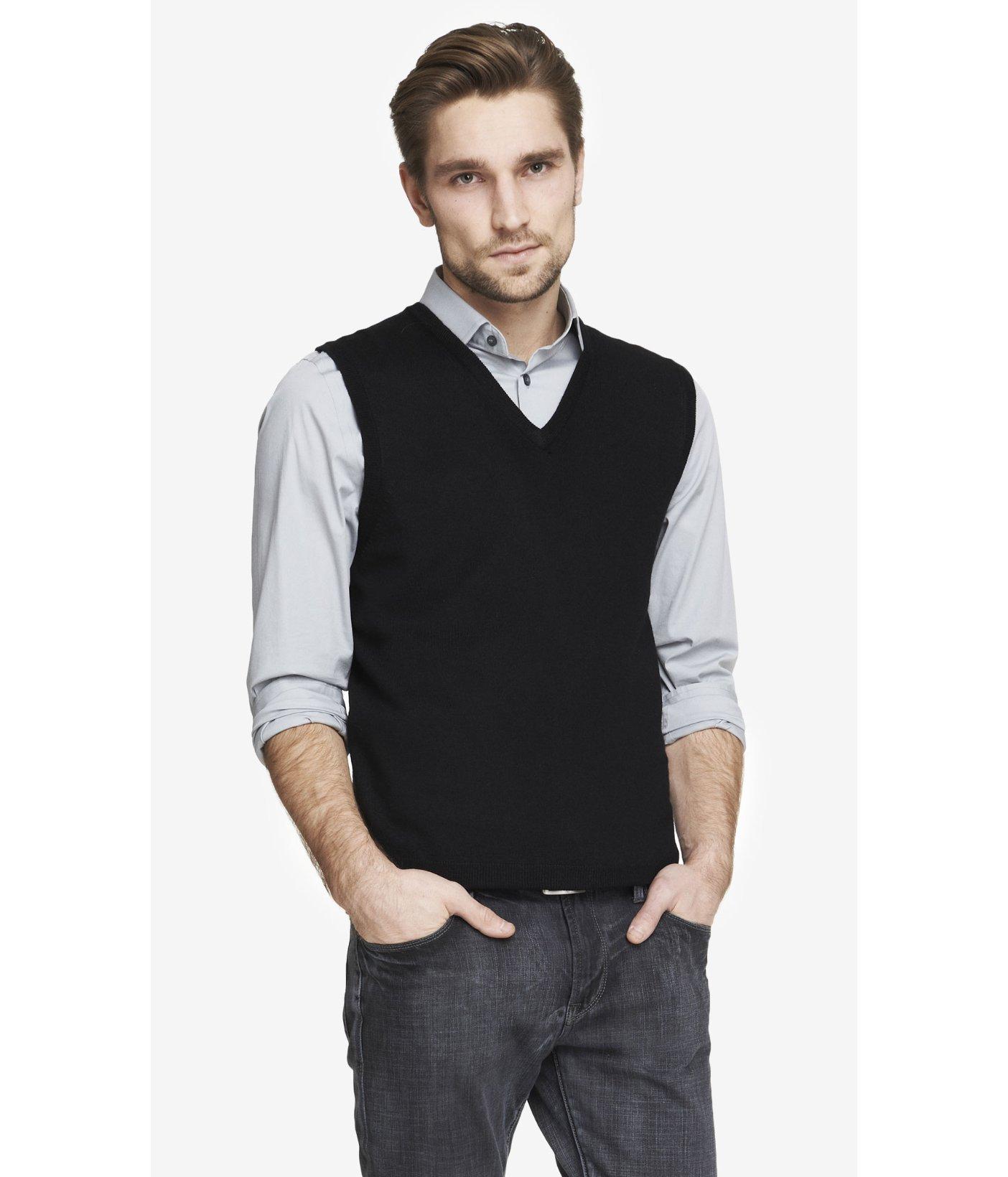 Express Merino Wool Sweater Vest in Black for Men   Lyst