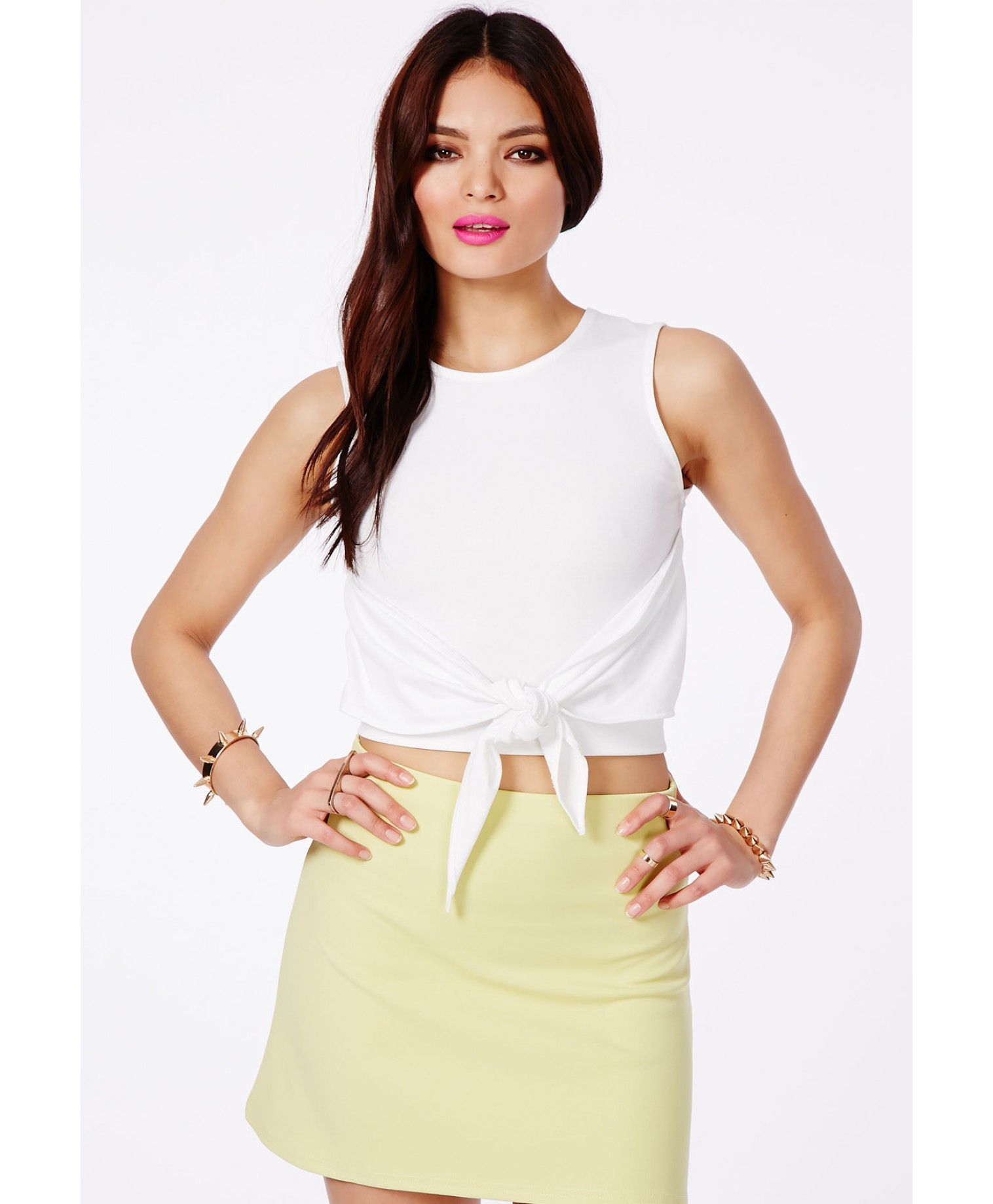 missguided malmelly white tie waist crop top in white lyst