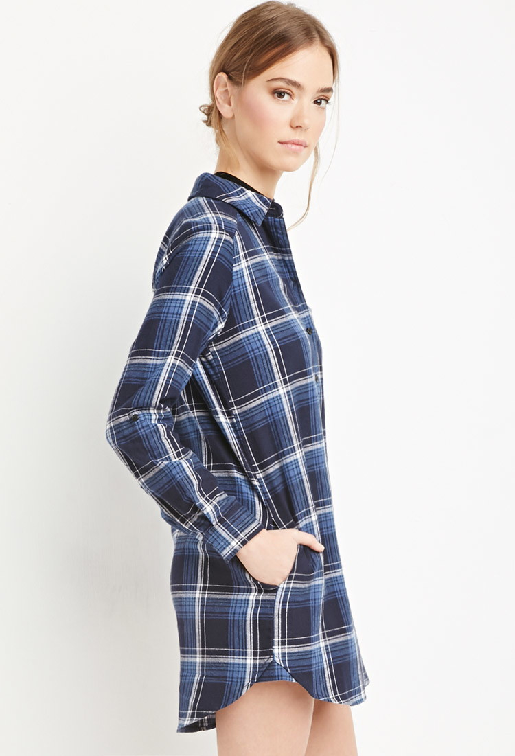 Forever 21 Plaid Flannel Shirt Dress In Black Navy Blue