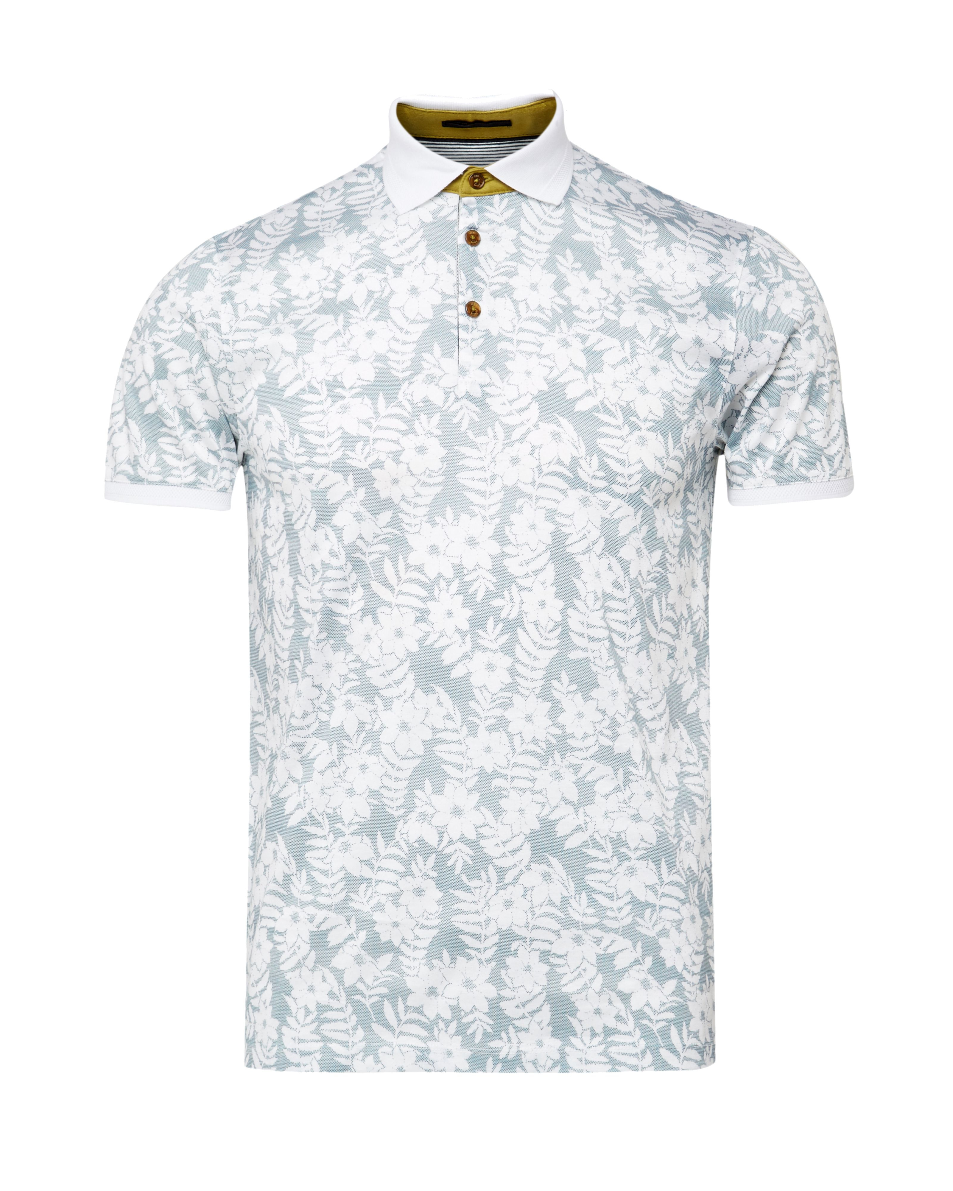Ted baker bopp floral print polo shirt in blue for men lyst for Ted baker floral print shirt