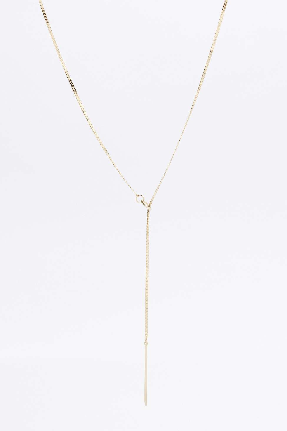 Urban Outfitters Square Pull-through Lariat Necklace in Gold (Metallic)