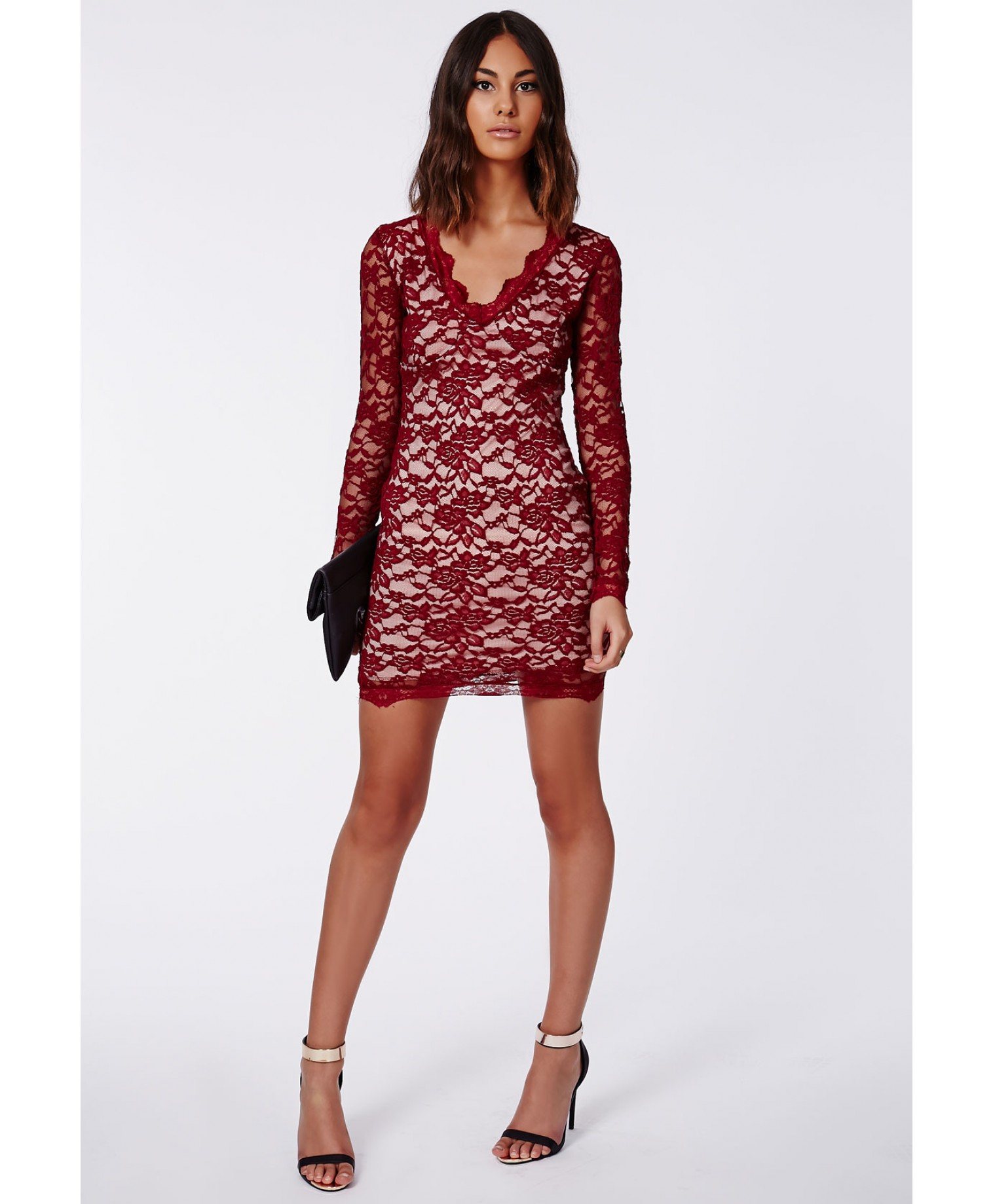Cherry Lace Long Sleeve Plunge Neck Bodycon Dress Burgundy