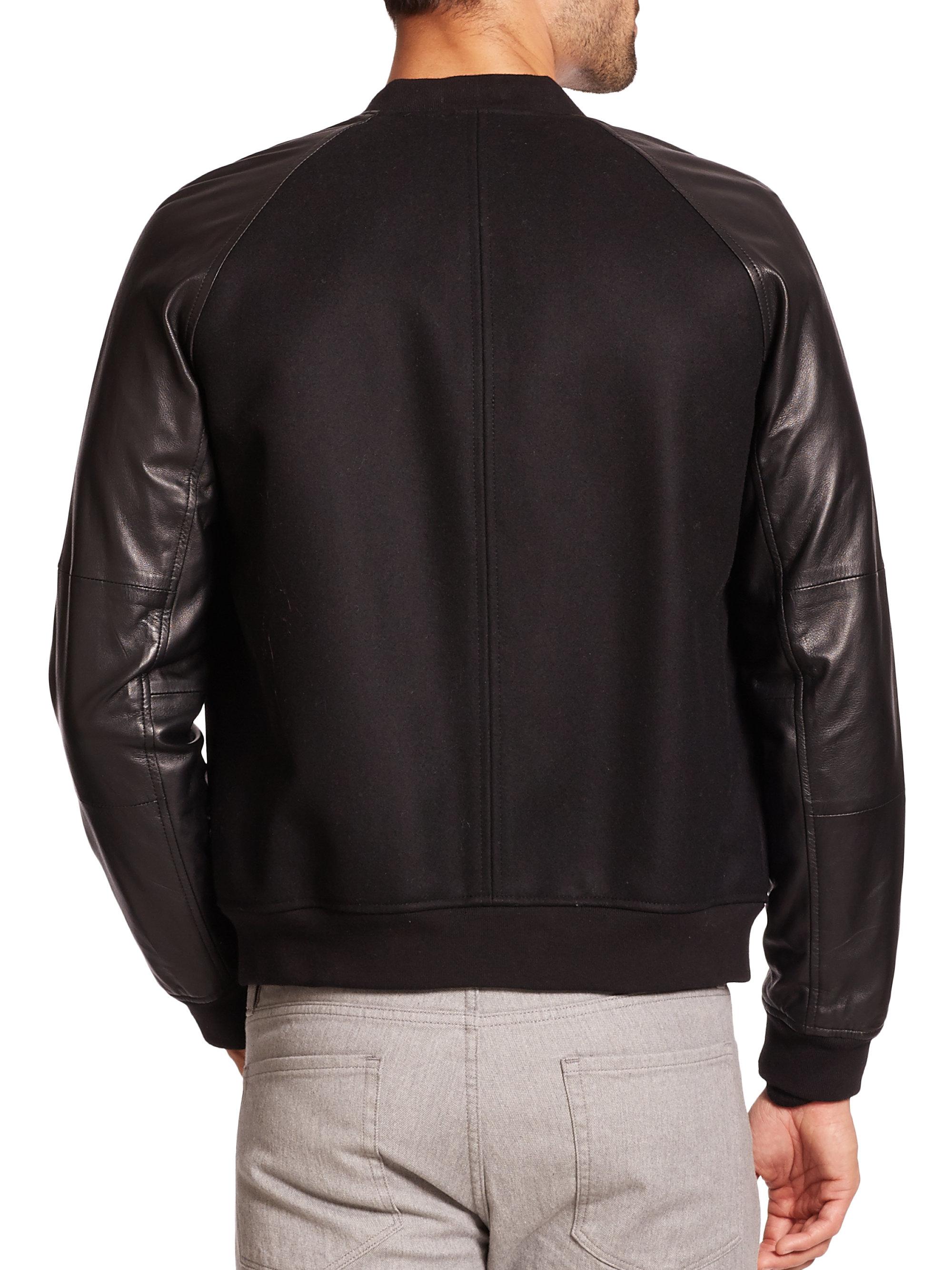 Lyst Vince Wool Amp Leather Bomber Jacket In Black For Men