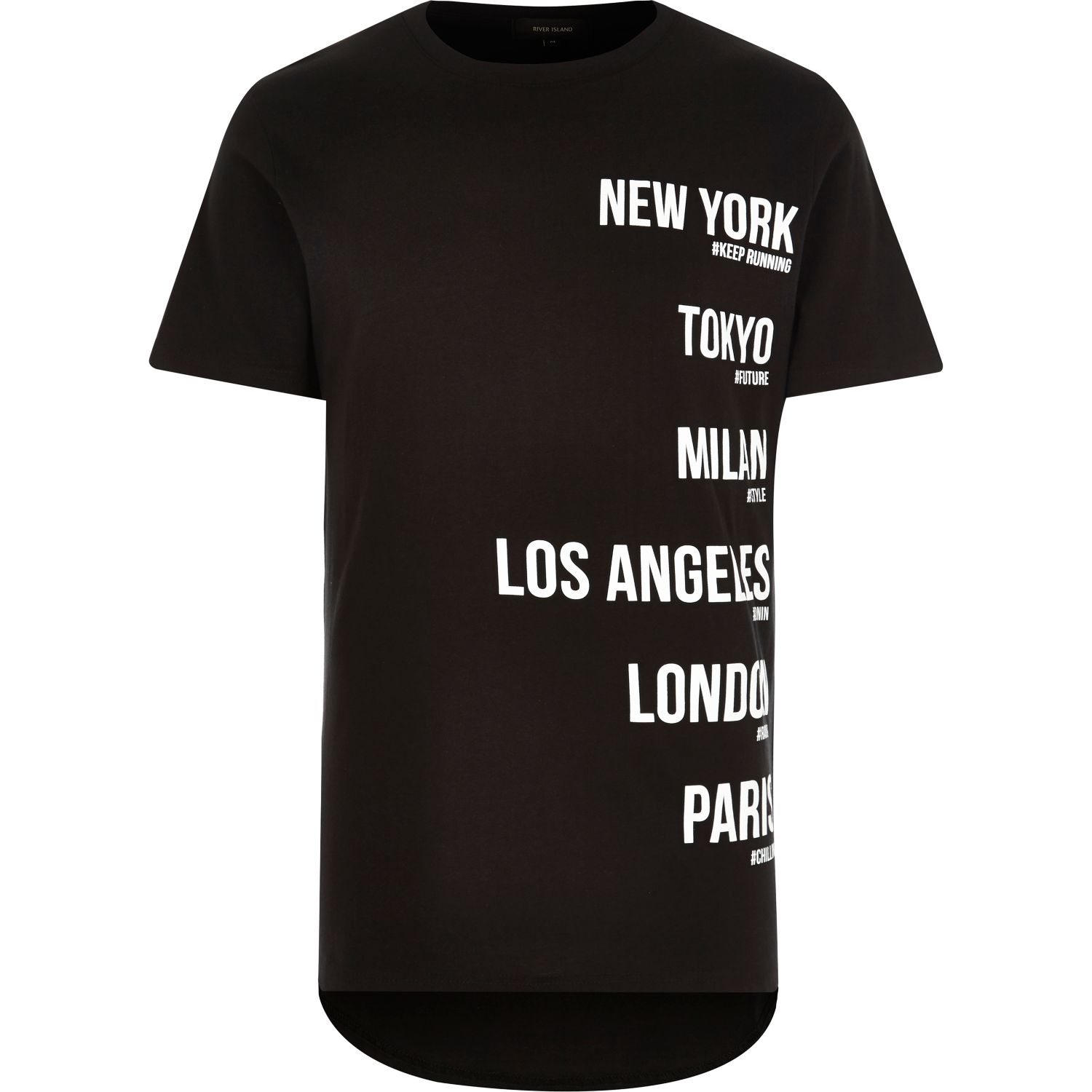 River island black city names short sleeve t shirt in for T shirts with city names