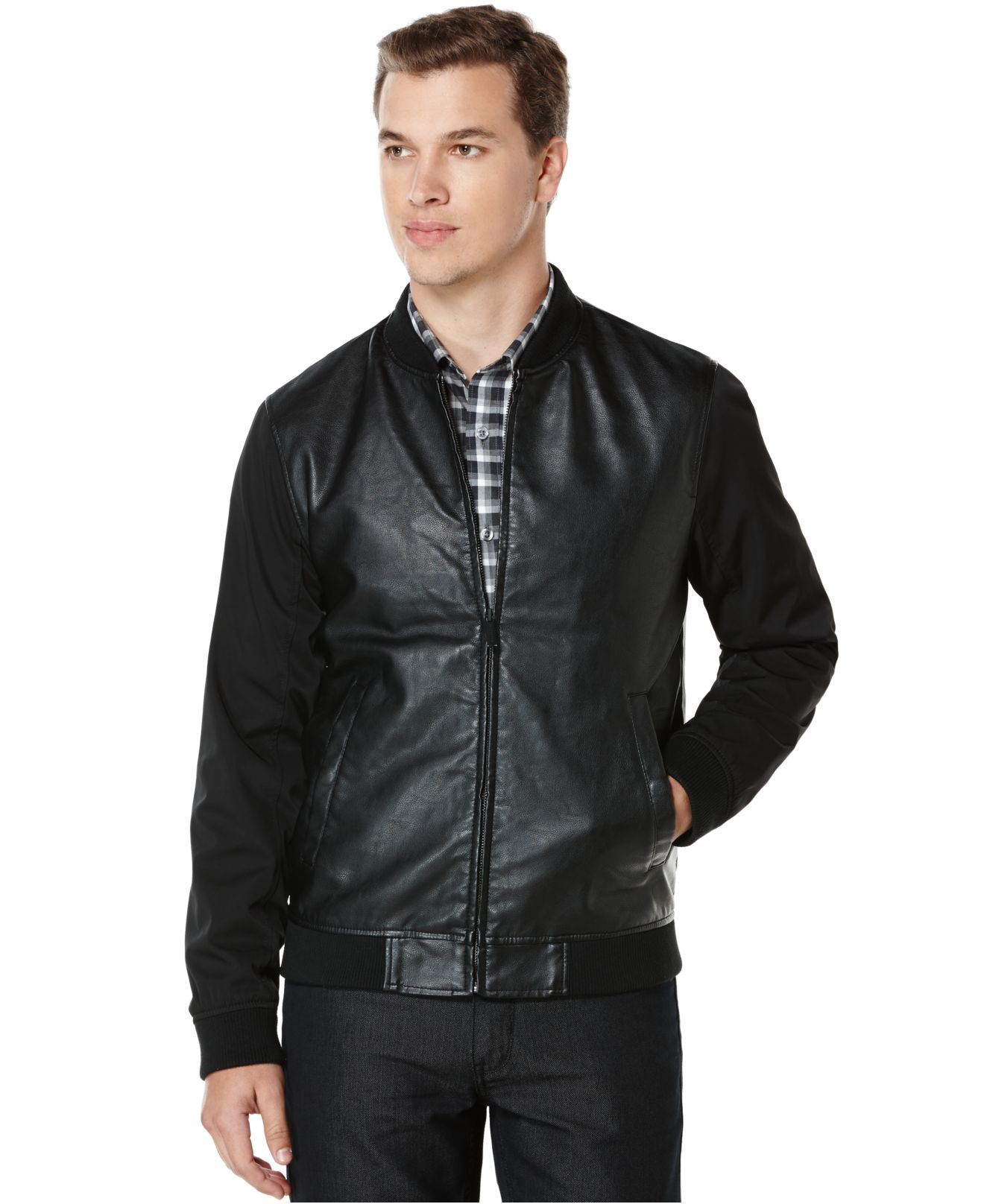 Perry ellis Faux-leather Bomber Jacket in Black for Men | Lyst