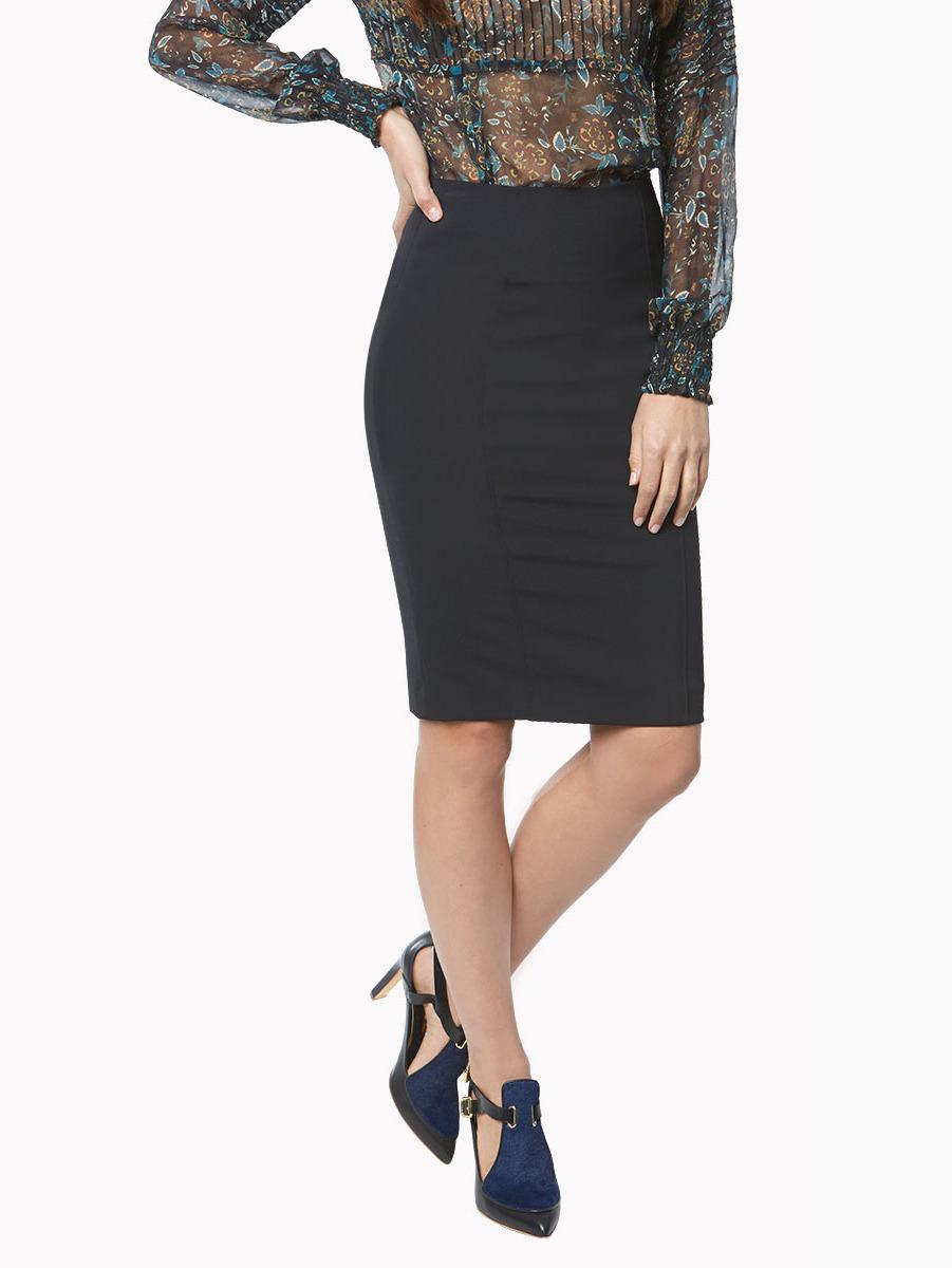 Veronica beard Black Scuba Pencil Skirt in Black | Lyst