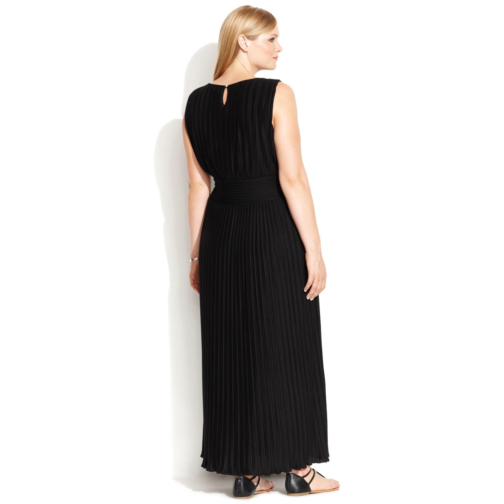 Calvin Klein Plus Size Sleeveless Pleated Maxi Dress In
