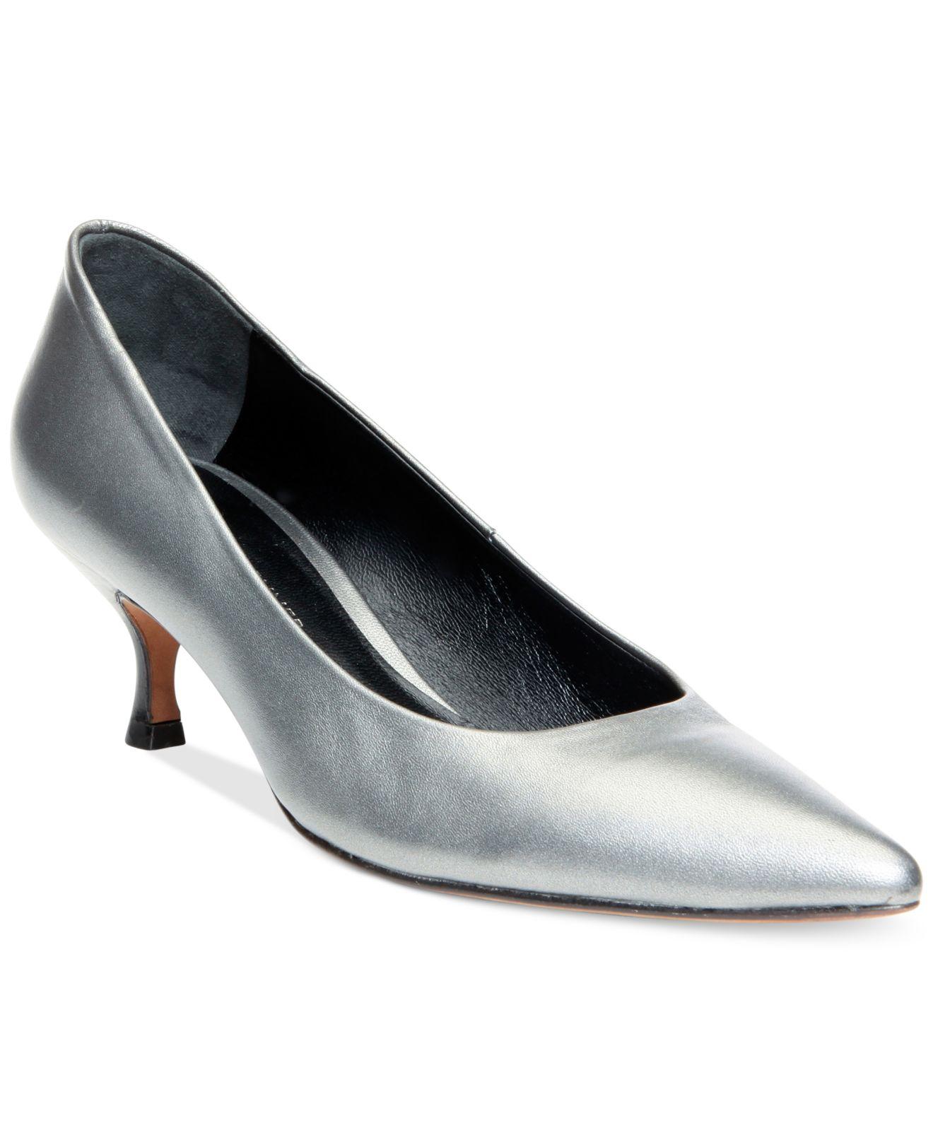 Silver Peep Toe Kitten Heel Shoes