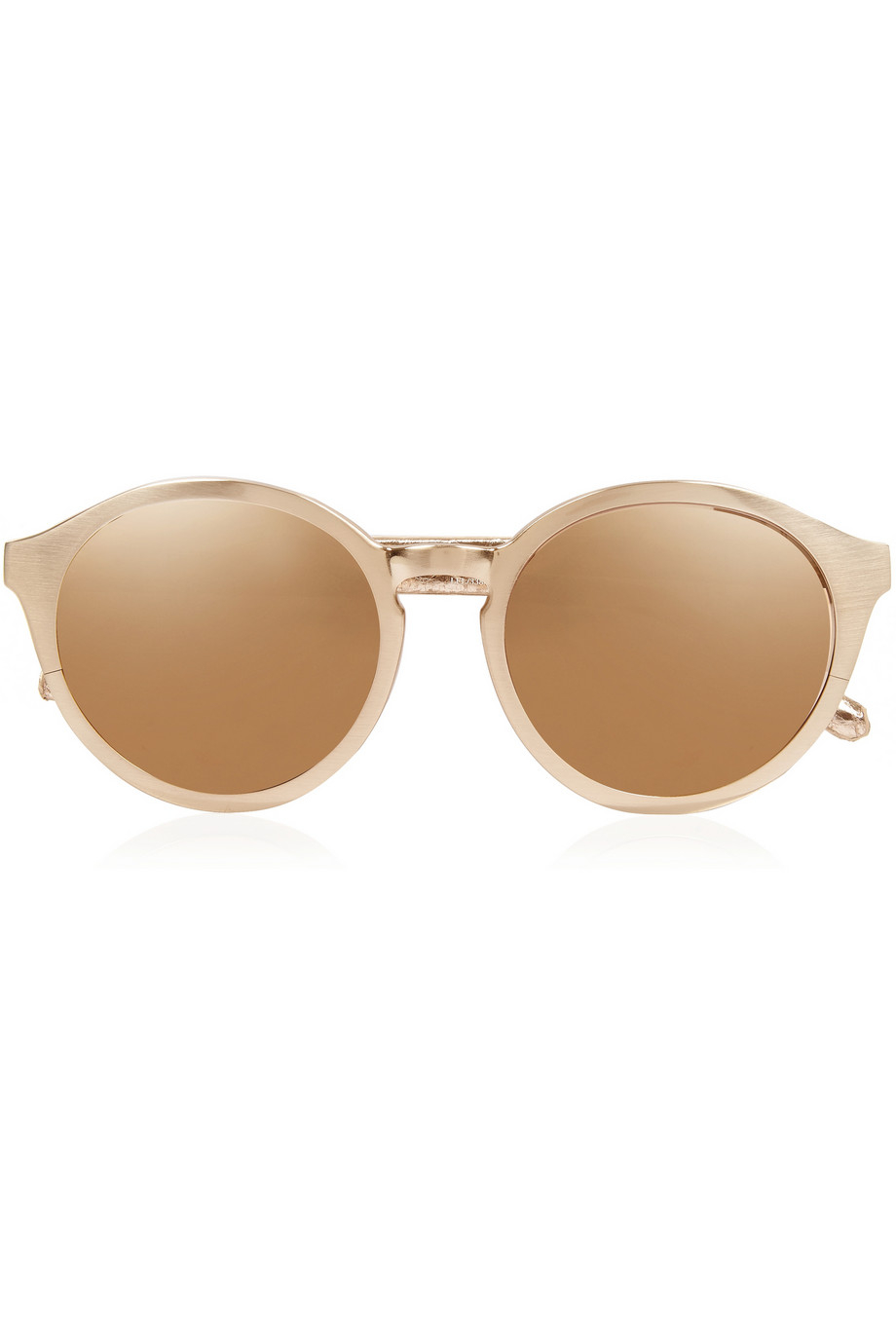 Linda farrow Round-Frame Gold-Plated And Elaphe Sunglasses ...