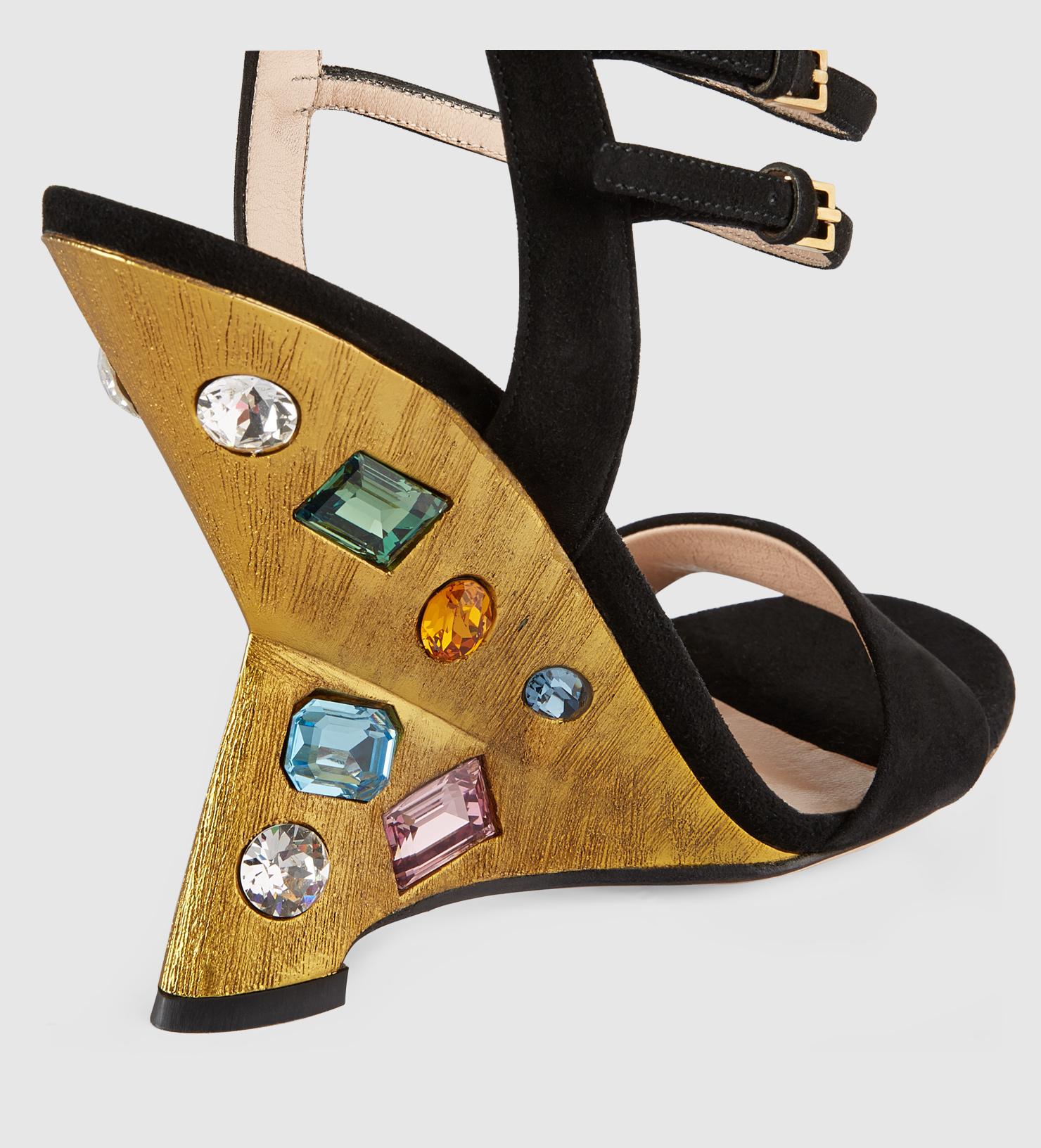 3f9f4632cfed7 Lyst - Gucci Engel Suede Wedge Sandal in Black