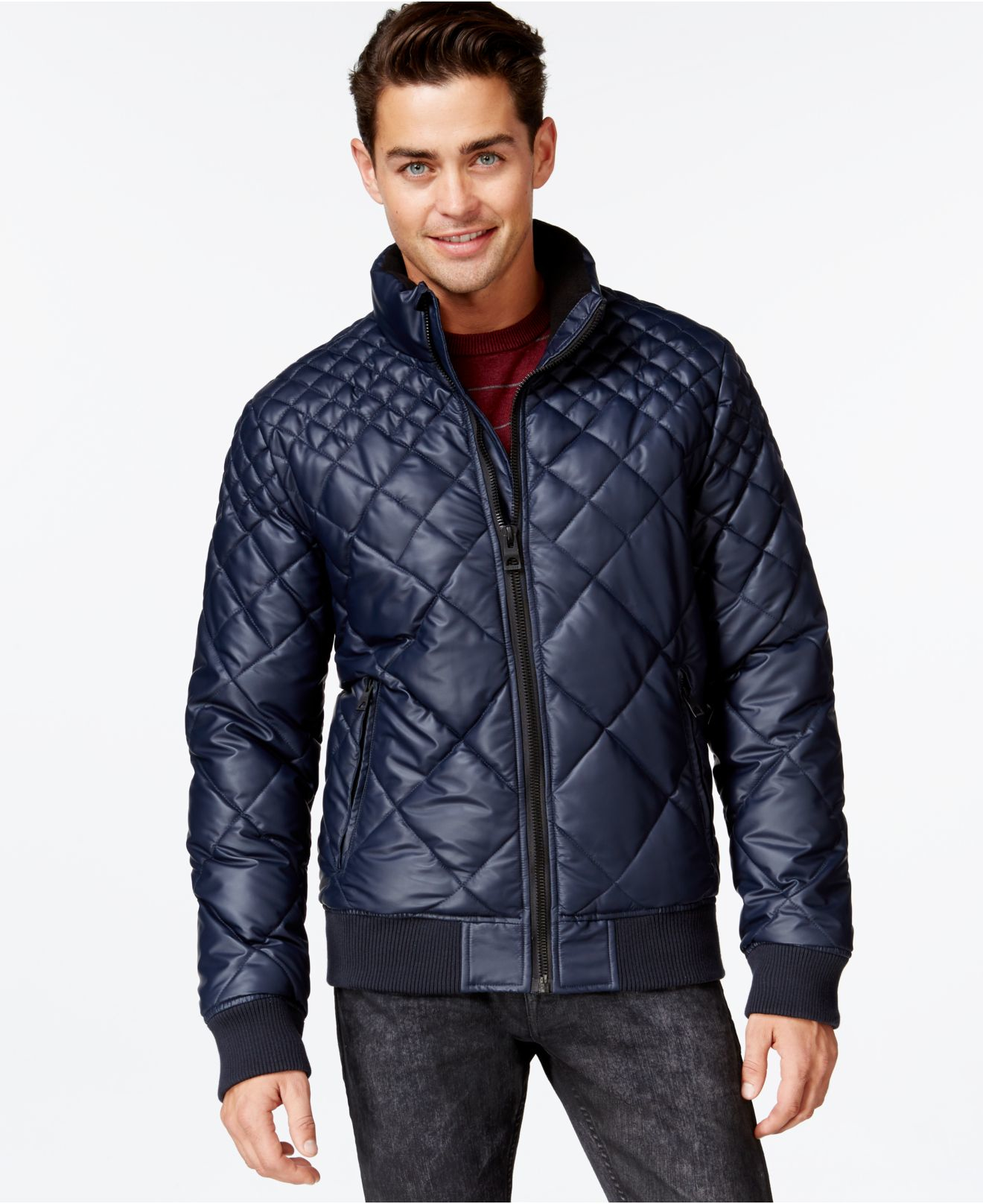 Guess John Quilted Puffer Jacket In Blue For Men Lyst