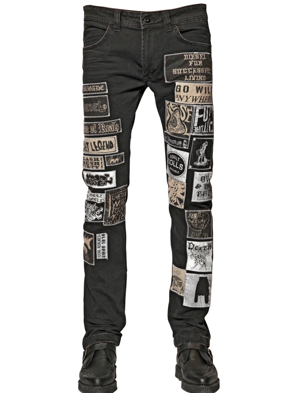 Lyst - DIESEL 17Cm Patches On Cotton Denim Jeans in Black ...