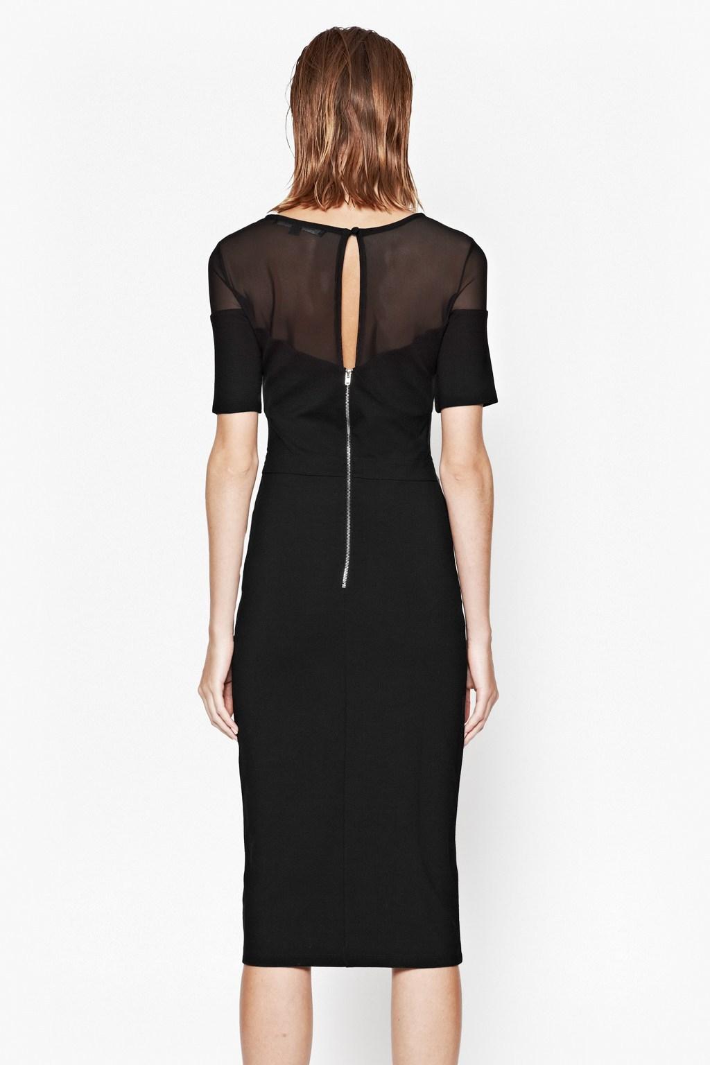 e4e7f77deb9 Lyst - French Connection Linear Mesh Midi Dress in Black