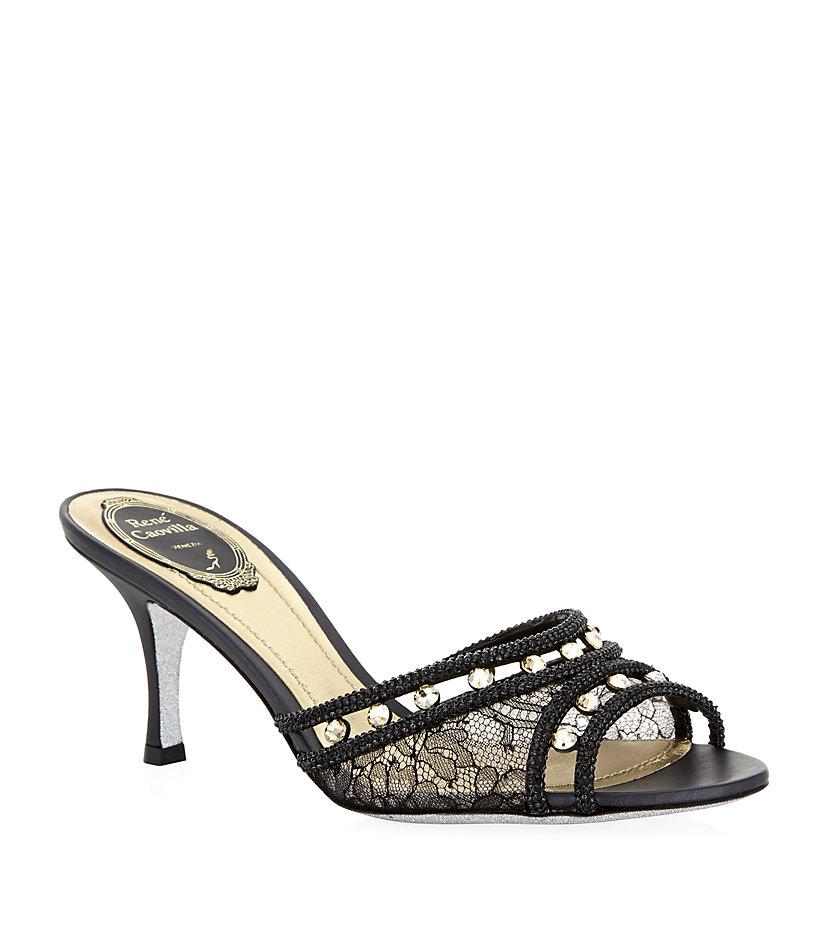 Rene Caovilla Sardonyx Pearl Embellished Sandals In Black