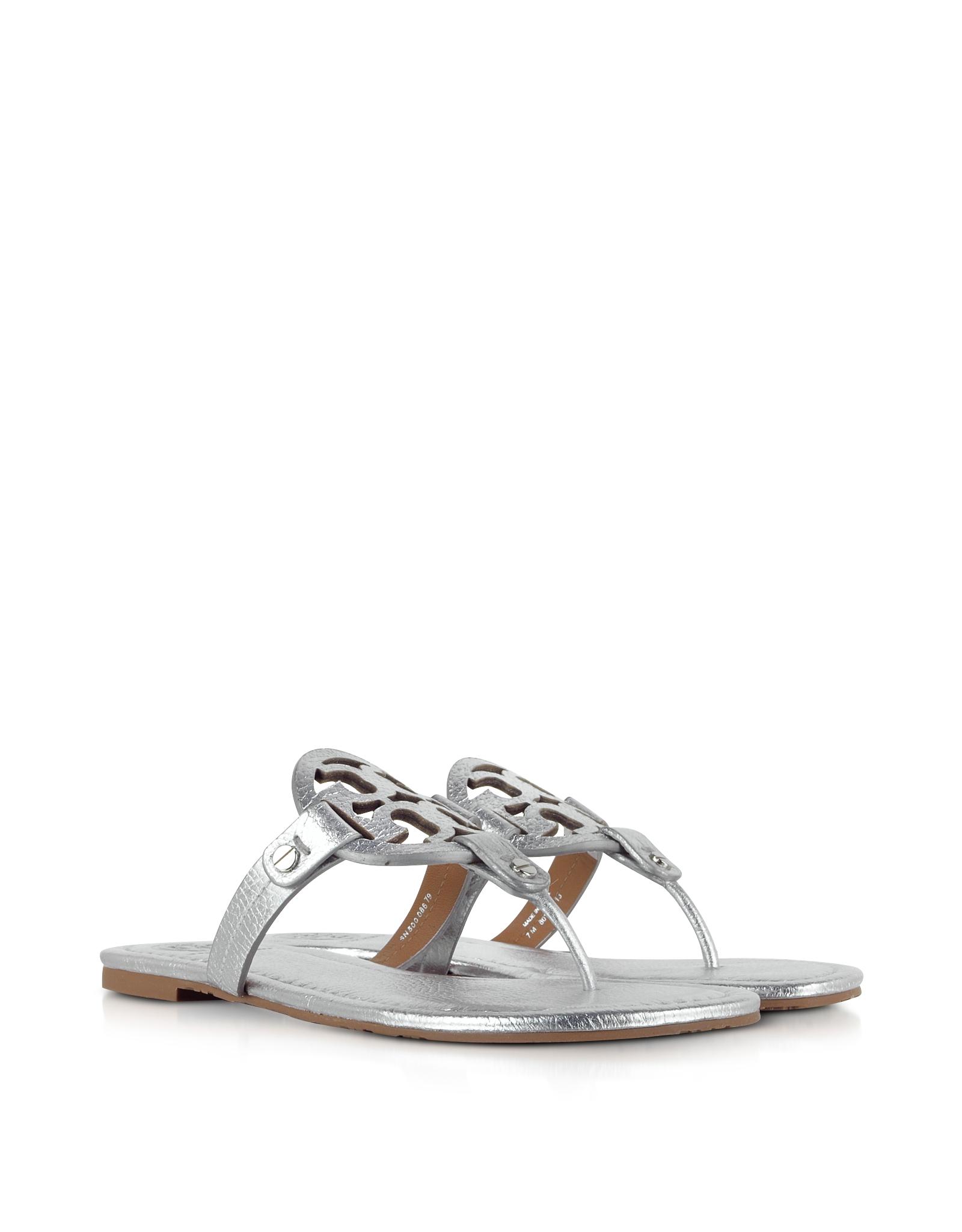 2715f9839 Lyst - Tory Burch Miller Metallic Silver Leather Sandal in Metallic