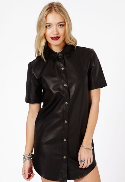 Missguided Agata Faux Leather Shirt Dress In Black Lyst