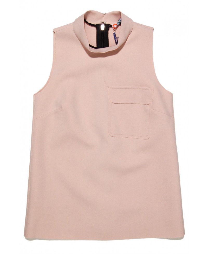 ae453ff4960b6 Lyst - MSGM Blush Crepe Sleeveless Top in Pink