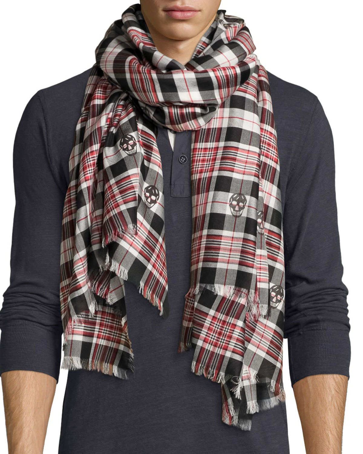 Fashion style Mcqueen alexander scarf red photo for woman